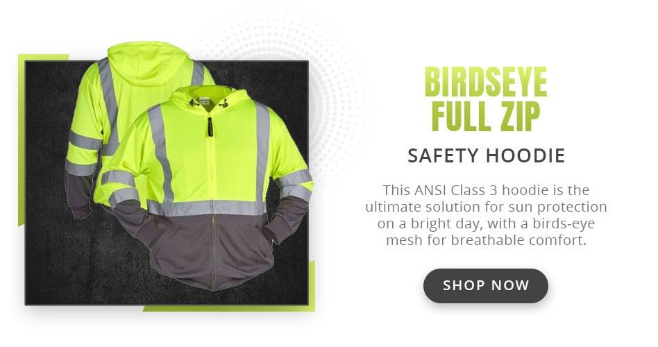 Utility Pro UHV829 Class 3 HiVis Birdseye Full Zip Safety Hoodie