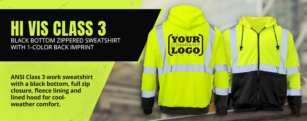 Hi Vis Class 3 Black Bottom Zippered Sweatshirt with 1-Color Back Imprint