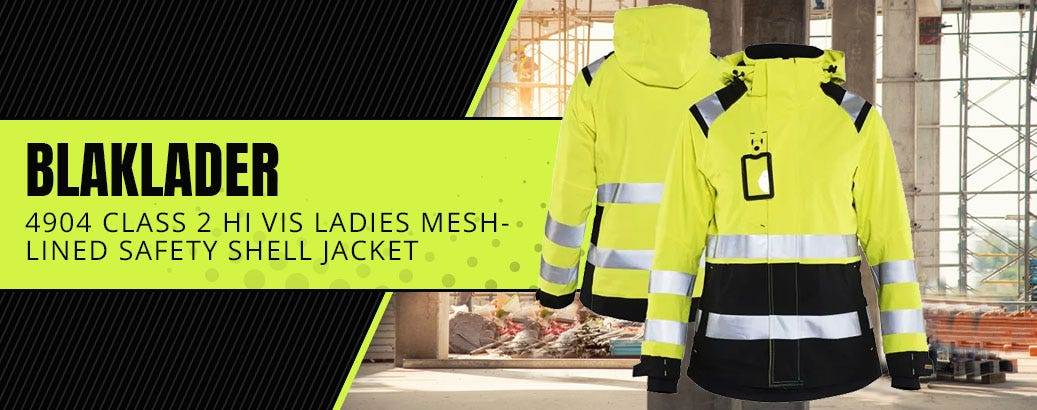 Blaklader 4904 Class 2 Hi Vis Ladies Black Bottom Mesh-Lined Safety Shell Jacket