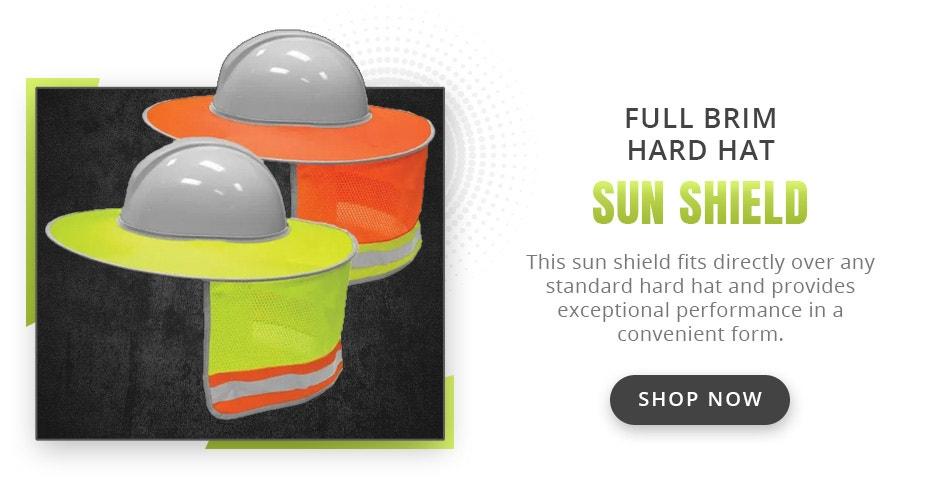 Kishigo 2873/2874 Enhanced Visibility Full Brim Hard Hat Sun Shield