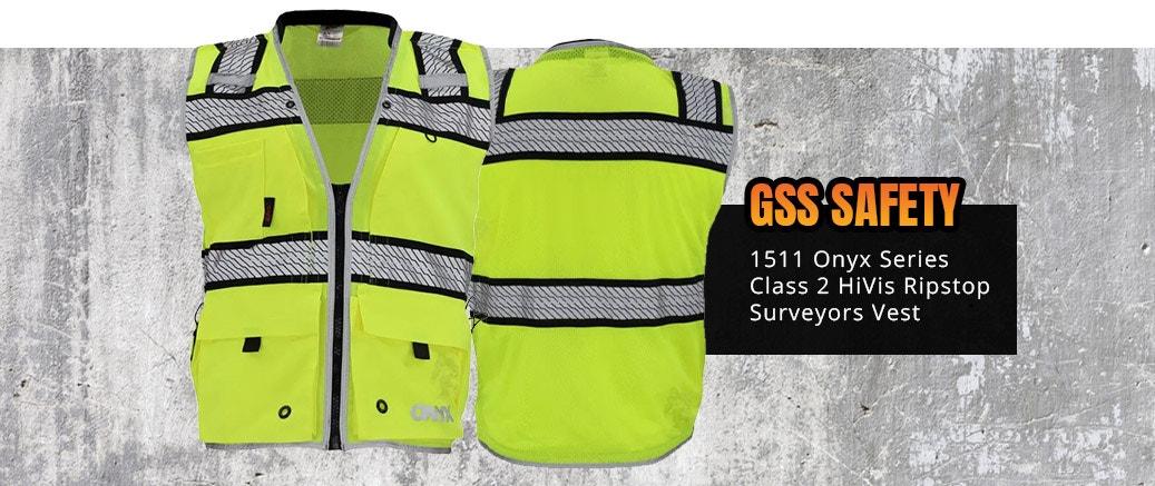 GSS Safety 1511 Onyx Series Class 2 HiVis Ripstop Surveyors Vest