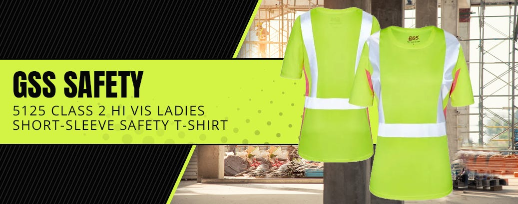 GSS Safety 5125 Class 2 Hi Vis Lime/Pink Ladies Short-Sleeve Safety T-Shirt