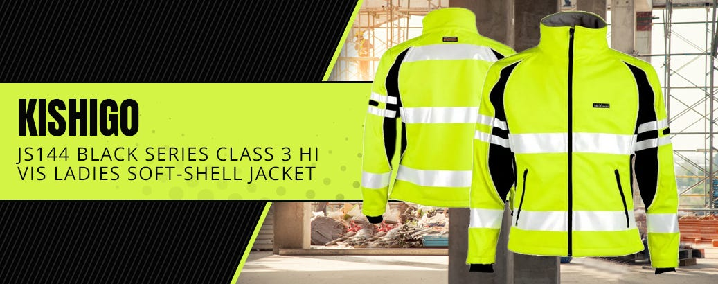 Kishigo JS144 Black Series Class 3 Hi Vis Ladies Soft-Shell Jacket