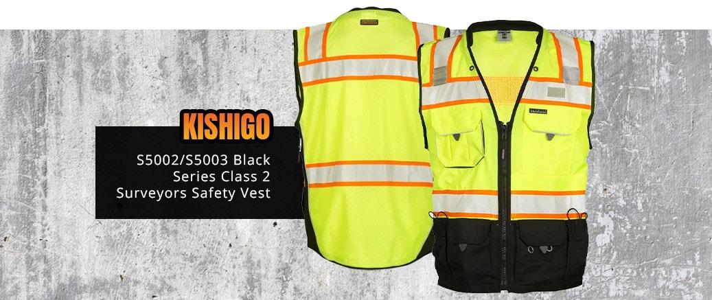 Kishigo S5002/S5003 Black Series Class 2 Surveyors Safety Vest