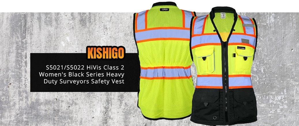 Kishigo S5021/S5022 HiVis Class 2 Women's Black Series Heavy Duty Surveyors Safety Vest