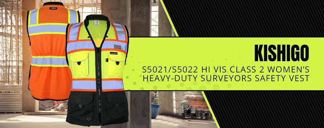 Kishigo S5021/S5022 Hi Vis Class 2 Women's Black Series Heavy-Duty Surveyors Safety Vest