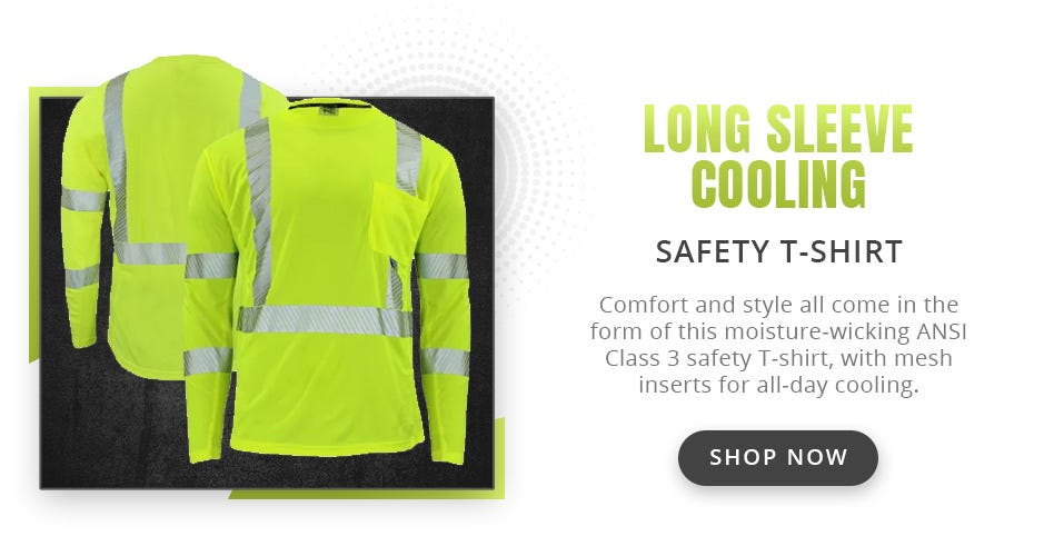 Radians ST31-3 Arctic Radwear Class 3 HiVis Segmented Long Sleeve Cooling Safety T-Shirt