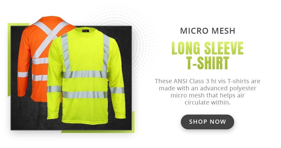 Work King ST08 Class 3 Segmented Tape Micro Mesh Long Sleeve T-Shirt