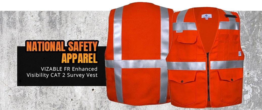 National Safety Apparel VIZABLE FR Enhanced Visibility CAT 2 Survey Vest