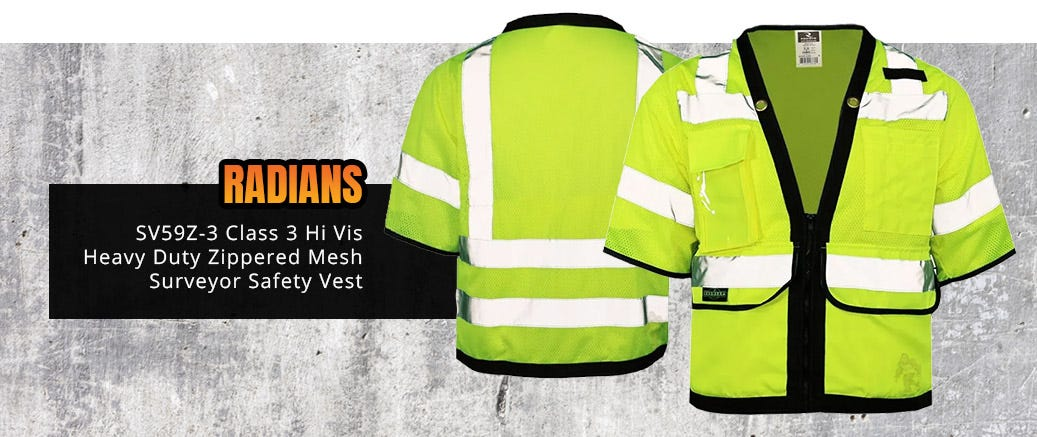 Radians SV59Z-3 Class 3 Hi Vis Heavy Duty Zippered Mesh Surveyor Safety Vest