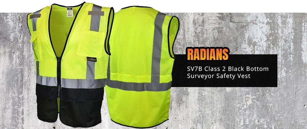 Radians SV7B Class 2 Black Bottom Surveyor Safety Vest