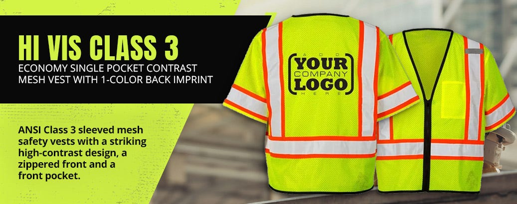 Hi Vis Class 3 Economy Single Pocket Contrast Mesh Vest with 1-Color Back Imprint