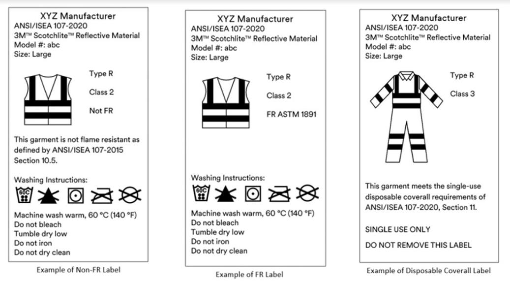 Three typical ANSI garment labels