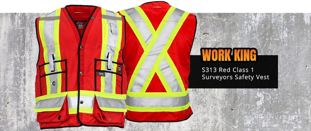 Work King S313 Red Class 1 Surveyors Safety Vest