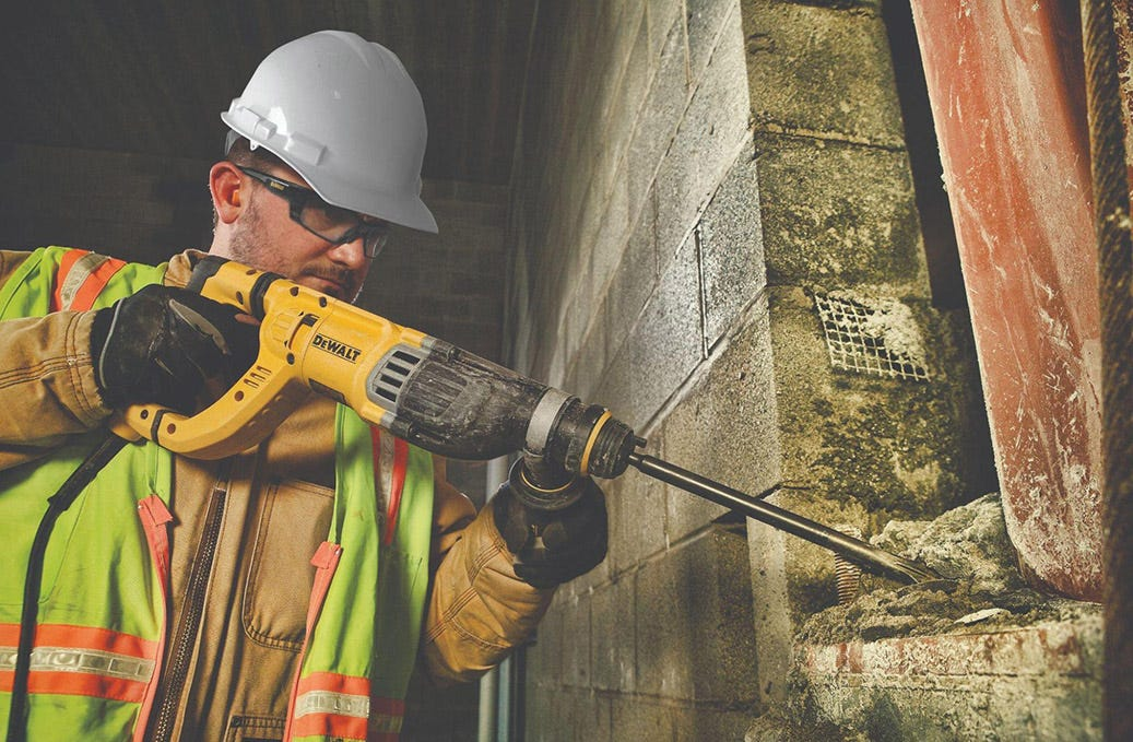 man with large drill