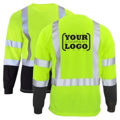Hi Vis Class 3 Long Sleeve Black Bottom T-Shirt with 1-Color Back Imprint