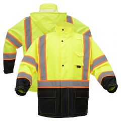 GSS Safety 6005 Contrast Series Class 3 HiVis Black Bottom Safety Rain Coat