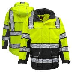 GSS Safety 6501 Onyx Series Class 3 HiVis Black Bottom Ripstop Safety Rain Coat
