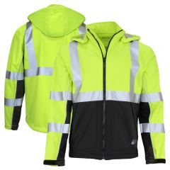 GSS Safety 7515 Class 3 HiVis Hooded Black Bottom Softshell Jacket