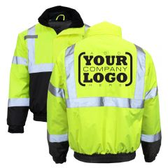 Hi Vis Class 3 Thermal Waterproof Safety Bomber Jacket