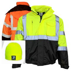 Kishigo JS121-JS122 Class 3 HiVis Thermal Economy Bomber Jacket | Free Beanie with Purchase