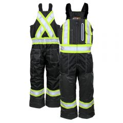 Work King S876 Class E Contrast Quilt Lined Insulated Safety Overall   Black