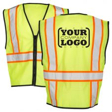 Hi Vis Class 2 Economy Single pocket Contrast Mesh Vest with 1-Color Back Imprint