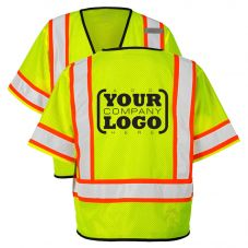 Hi Vis Class 3 Economy Single Pocket Contrast Mesh Vest with 1-Color Back Imprint