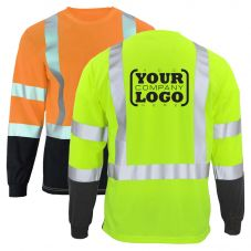 Hi Vis Class 3 Long Sleeve Black Bottom T-Shirt with 1-Color Back Imprint