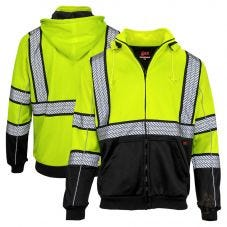 GSS Safety 7511 Onyx Series Class 3 HiVis Black Bottom Full-Zip Hoodie Sweatshirt