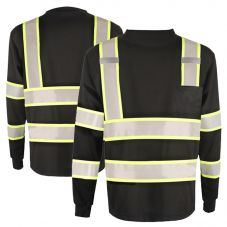 GSS Safety 5015 Enhanced Visibility Black Contrast Long Sleeve Safety T-Shirt