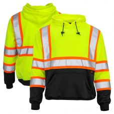 GSS Safety 7005 Class 3 HiVis Contrast Black Bottom Pullover Hoodie Sweatshirt