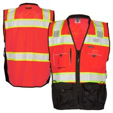 ML Kishigo S5702 Black Series Class 2 HiVis Red Surveyors Safety Vest