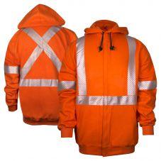 National Safety Apparel C21WI05CX2 Vizable FR Class 3 CAT 2 Segmented X-Back Zippered Sweatshirt