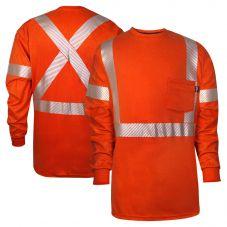 National Safety Apparel C54VRLSPCX2 Vizable FR Enhanced Vsibility Cotton CAT 2 Long Sleeve Segmented Safety T-Shirt