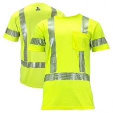 National Safety Apparel TEEY2PC3 Vizable FR Class 3 Dual Hazard CAT 2 Short Sleeve Segmented Safety T-Shirt
