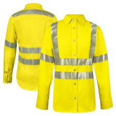 National Safety Apparel SHRTVC3W Class 3 FR HRC 2 Segmented Woman's Button-up Shirt