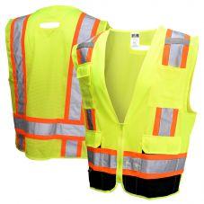 Radians SV6B-2 Class 2 Black Bottom Contrasting Multi-Pocket Safety Vest