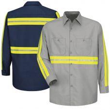 Red Kap SP24EL Enhanced Visibility Industrial Work Shirt Long Sizes