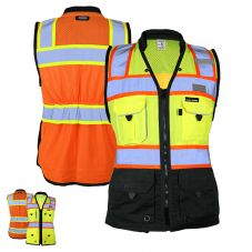 ML Kishigo S5021/S5022 HiVis Class 2 Women's Black Series Heavy Duty Surveyors Safety Vest