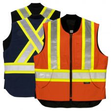 Tough Duck SV06 Class 1 Cotton Duck Contrast Quilt Lined Safety Vest