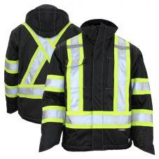 Work King S245 Class 3 HiVis 300D Ripstop Fleece Lined Jacket | Black