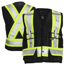 Work King S313 Class 1 Surveyor's Black Safety Vest