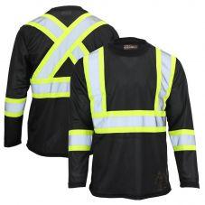 Work King ST10 Class 1 Polyester Micro Mesh Contrast Long Sleeve T-Shirt