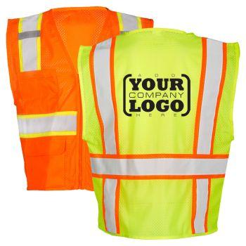 Hi Vis Class 2 Contrast Multi-Pocket Vest with 1-Color Back Imprint