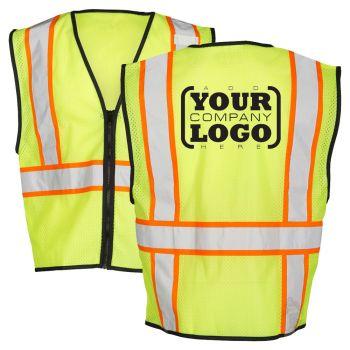 Hi Vis Class 2 Economy Single pocket Contrast Mesh Vest with 1-Color Back Imprint