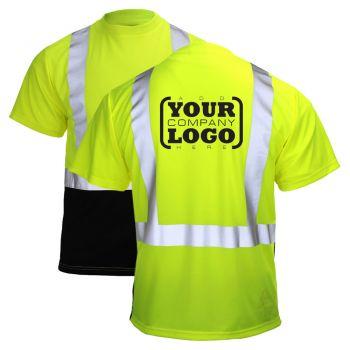 Hi Vis Class 2 Short Sleeve Black Bottom T-Shirt with 1-Color Back Imprint