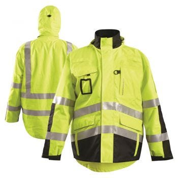 Occunomix SPRSPARKA HiVis Class 3 3-in-1 Black Bottom Rip Stop Flannel Safety Parka