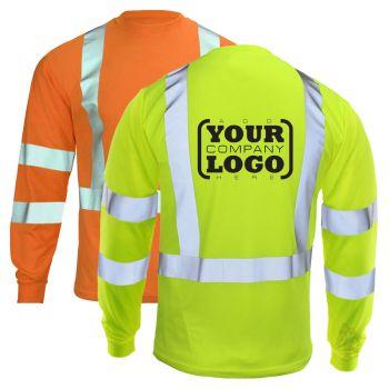 Hi Vis Class 3 Long Sleeve T-Shirt with 1-Color Back Imprint