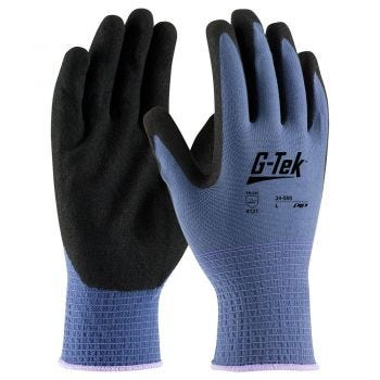 G-Tek 34-500 Nylon Knit Glove with Nitrile Coated MicroSurface Grip